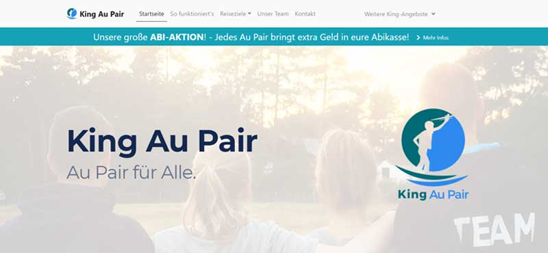WELTBÜRGER Stipendien • Auslandsjahr • Stifter • Screenshot • King Au Pair
