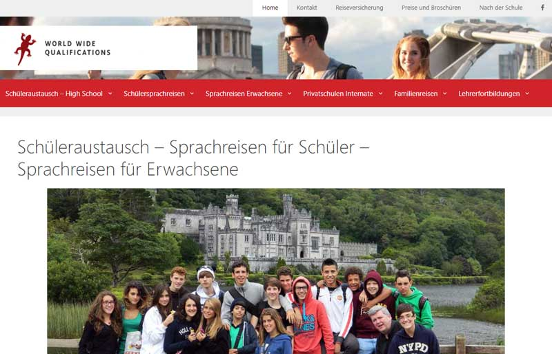 WELTBÜRGER Stipendien • Auslandsjahr • Stifter • Screenshot • World Wide Qualifications