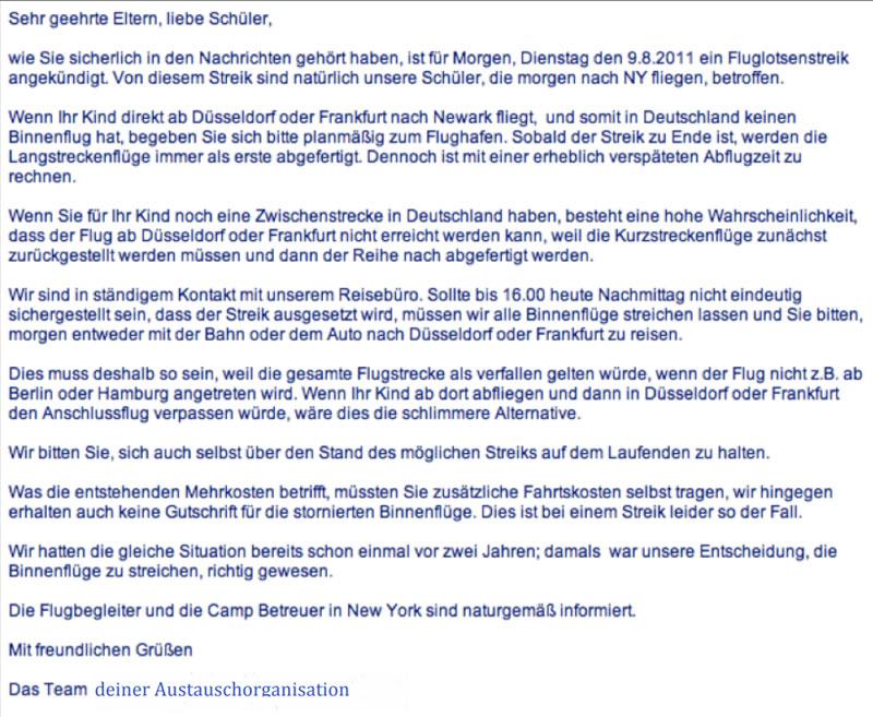 E-Mail einer Austauschorganisation zu einem Flugstreik