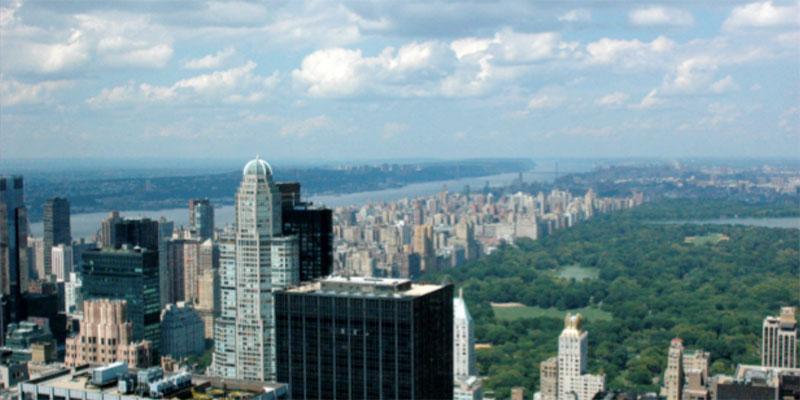 New York Skyline und der Central Park aus der Vogelperspektive