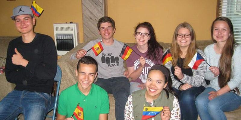 Jessica mit anderen Austauschschülern